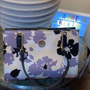Anne Klein City Dweller Tote Handbag Floral Purple
